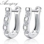 Anenjery pendientes 925 <b>Sterling</b> <b>Silver</b> <b>Earrings</b> Harp Zircon Studs Horse Shoe <b>Earrings</b> For Women oorbellen boucle d'oreille