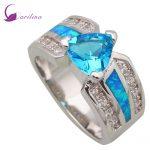 Wedding women <b>ring</b> Blue Cubic Zirconia Blue Opal <b>ring</b> 925 <b>Sterling</b> <b>Silver</b> Overlay jewelry <b>ring</b> size 5 6 7 8 9 R452