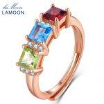LAMOON 1.5ct 5mm Square Red Garnet Green Peridot Blue Topaz 925 <b>sterling</b>–<b>silver</b>-jewelry Wedding <b>Ring</b> For Women LMRI010