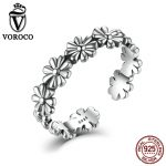 VOROCO Authentic 925 <b>Sterling</b> <b>Silver</b> <b>Rings</b> Vintage Flower Floral Adjustable Open Finger Cuff <b>Ring</b> for Women Fine Jewelry