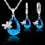 JEXXI Bridal Jewelry Sets 925 <b>Sterling</b> <b>Silver</b> Austrian Crystal Butterfly Drop CZ Pendant Necklace LeverBack Hoop <b>Earrings</b> Set