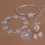 925 <b>sterling</b> <b>silver</b> plated jewellry set gold Daisy bracelet necklace earring <b>ring</b> for women fashion indian jewelry sets S288