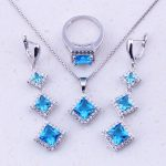 2017 New Products Sky Blue Crystal 925 <b>Sterling</b> <b>Silver</b> Square Jewelry Sets For Women Fashion Jewelry Free Shipping J0041