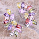 Enjoyable Multicolor Purple Cubic Zirconia 925 <b>Sterling</b> <b>Silver</b> Clip Huggie <b>Earrings</b> For Women S0234