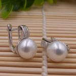 1lot=20pairs hand polished 925 pure <b>silver</b> <b>earring</b> with natural freshwater pearls women's hoop <b>earrings</b> Wholesale promotion