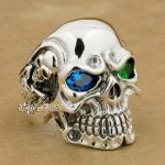 LINSION 925 <b>Sterling</b> <b>Silver</b> Titan Skull Blue Green CZ Stone Eyes Mens Biker Punk <b>Ring</b> <b>sterling</b>–<b>silver</b>-jewelry 8V605 US Size 7~15