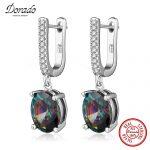 Dorado Brand Design Pure 925 <b>Sterling</b> <b>Silver</b> Jewelry Colorful Cubic Zirconia Drop Dangle <b>Earrings</b> for Women Free Gifts Box