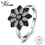 JewelryPalace Flower Natural Taupe Smoky Quartz Black Spinel <b>Ring</b> Charms 925 <b>Sterling</b> <b>Silver</b> Fashion Fine Jewelry For Women <b>Ring</b>