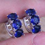 Candy Blue Cubic Zirconia 925 <b>Sterling</b> <b>Silver</b> Huggie Hoop <b>Earrings</b> For Women S0230