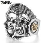 ZABRA <b>Sterling</b> 925 <b>Silver</b> Mens <b>Rings</b> Religion Buddhist Pray Men <b>Ring</b> Adjustable Size Buddha Devil Vintage Biker Gothic Jewelry