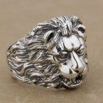LINSION 925 <b>Sterling</b> <b>Silver</b> King Of Lion Mens Biker Rocker Punk <b>Ring</b> 9K022 US Size 7 to 15