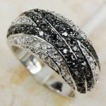 White Black Crystal Zircon Women 925 <b>Sterling</b> <b>Silver</b> <b>Ring</b> R593 Size 6 7 8 9 10 11 12