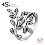 GS 100 % Real 925 <b>Sterling</b> <b>Silver</b> Flower <b>Rings</b> For Women Luxury Dazzling Leaves <b>Silver</b> Woman Wedding Engagement <b>Ring</b> Anillos G4