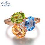 LAMOON- 3pcs 3ct Oval Yellow Citrine Green Peridot Blue Topaz 925 <b>sterling</b>–<b>silver</b>-jewelry Wedding <b>Ring</b> S925 LMRI002