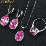 CWWZircons Round Purple Pink Anstrian Crystal Ladies Jewelry <b>Sterling</b> <b>Silver</b> 925 Fashion Jewellery Sets Christmas Gifts T271