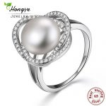 Hongye Female <b>Rings</b> Authentic 100% 925 <b>Sterling</b> <b>Silver</b> With Natural Freshwater Pearl For Women Finger <b>Ring</b> Charm Wedding Jewelry