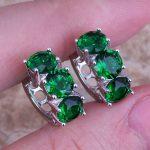 Delicate Green Cubic Zirconia 925 <b>Sterling</b> <b>Silver</b> Huggie Hoop <b>Earrings</b> For Women S0228