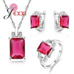 JEXXI Newest Rectangle Cut Cubic Zirconia Stone Jewelry Set 925 <b>Sterling</b> <b>Silver</b> Necklace & Earrings & <b>Ring</b> Sets For Women