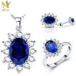 ANGG 1.4 ct Fashion 925 <b>Sterling</b> Sliver Jewelry Set <b>Ring</b> Earrings Necklace Women Oval Engagement Jewelry Set