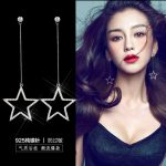 2017 New Arrival Fashion 925 <b>Sterling</b> <b>Silver</b> Stud <b>Earrings</b> For Women Crystal Star Big <b>Earring</b> <b>Silver</b> Needle Anti Allergy