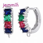 Jemmin Prong Setting Colorful <b>Earrings</b> Vintage S925 <b>Sterling</b> Sliver Round Shape Bijoux DIY Jewelry Components For Lady and Girl
