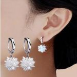 2017 New arrival hot sell ice snow flower design 925 <b>sterling</b> <b>silver</b> ladies stud <b>earrings</b> jewelry birthday gift wholesale women