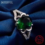 New Arrivals 100% <b>Sterling</b> <b>Silver</b> Green Zircon <b>Rings</b> Women Charm <b>Silver</b> Fashion Round <b>Rings</b> Jewelry