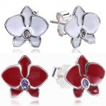 Compatible With Slovecabin Jewelry 925 <b>Sterling</b> <b>Silver</b> Orchid Crystal Stud <b>Earrings</b> For Women Trendy 925 Fashion Women <b>Earrings</b>