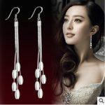 2016 New arrival high quality fashion tassels flower 925 <b>sterling</b> <b>silver</b> ladies`drop <b>earrings</b> jewelry wholesale gift