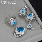 ANGELCZ 8 Color Options <b>Sterling</b> <b>Silver</b> 925 <b>Ring</b> Earrings Necklace Light Blue Crystal Big Water Drop Women Jewelry Set AJ001