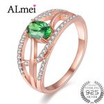 Almei <b>Silver</b> 925 Green Diopside Crystal <b>Ring</b> Rose Gold Color Green Bead Wedding Fine Jewelry Accessories with Box 40% FJ086