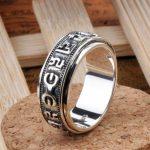 Handmade 925 <b>Silver</b> OM Mani Padme Hum Words Spinning <b>Ring</b> Vintage <b>sterling</b> <b>silver</b> tibetan om <b>ring</b> buddhist om words finger <b>ring</b>