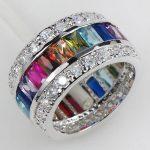 Morganite Blue Crystal Zircon Garnet Pink & Light Blue Crystal Zircon 925 <b>Sterling</b> <b>Silver</b> <b>Ring</b> size 6 7 8 9 10 11