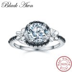 [BLACK AWN] Flower 925 <b>Sterling</b> <b>Silver</b> Jewelry Black Spinel Wedding <b>Rings</b> for Women Engagement <b>Ring</b> Round Femme Bague C006