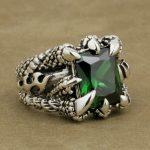LINSION 925 <b>Sterling</b> <b>Silver</b> Huge Green CZ Stone Dragon Claw <b>Ring</b> Mens Biker Punk Style 8T402 US Size 7.5~14