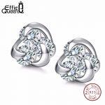 Effie Queen 100% Genuine 925 <b>Sterling</b> <b>Silver</b> <b>Earrings</b> for Women Hot Sale 8mm CZ Small Cute Crystal Jewelry Stud <b>Earrings</b> BE10