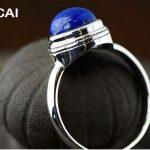 925 <b>sterling</b> <b>silver</b> jewelry female models natural round lapis lanyard <b>ring</b>, simple fashion blue stone <b>ring</b>