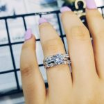 925 <b>sterling</b> <b>silver</b> 3 in 1 pieces wedding engagement <b>ring</b> sets for women bridal groom bride finger jewelry moonso R4324S