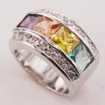 Peridot Yellow Crystal Zircon Morganite Women 925 <b>Sterling</b> <b>Silver</b> <b>Ring</b> F773 Size 6 7 8 9 10