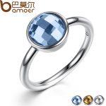 BAMOER Summer Collection Pure 925 <b>Sterling</b> <b>Silver</b> <b>Rings</b> Blue Imitated Stone Finger <b>Ring</b> Women Fine Jewelry PA7183