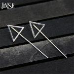 JINSE 925 <b>Silver</b> Triangle <b>Earring</b> 43mm Long 100% S925 <b>Sterling</b> <b>Silver</b> boucle d'oreille Drop <b>Earrings</b> for Women Jewelry 14*43mm