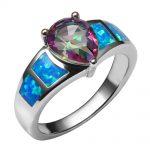 Blue Fire Opal With Rose Rainbow Crystal Zircon 925 <b>Sterling</b> <b>Silver</b> <b>Ring</b> Beautiful Jewelry Size 6 7 8 9 10 R1385