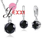 JEXXI Top Quality Round Black Cubic Zircon Crystal Jewelry Set for Women Pure 925 <b>Sterling</b> <b>Silver</b> Necklace <b>Earrings</b> Set Wholdsal