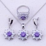 Gorgeous Purple Crystal & Cubic Zircon 925 <b>Sterling</b> <b>Silver</b> Flower Jewelry Sets For Women Fashion Jewelry J0038