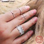 Authentic 925 <b>Sterling</b> <b>Silver</b> Jewelry <b>Rings</b> For Women Faith Cross Shape Finger <b>Rings</b> Simple bijoux femme Adjustable Size