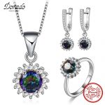 Dorado 925 <b>Sterling</b> <b>Silver</b> Jewelry Sets Multicolor AAA Zirconia Pendant Necklace Drop Earrings <b>Rings</b> Engagement Gifts For Women