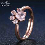 LAMOON <b>Rings</b> Shadow Bear's Paw Natural Pink Rose Quartz <b>Ring</b> 925 <b>Sterling</b> <b>Silver</b> Fine Jewelry Romantic Wedding Bands Anillos New