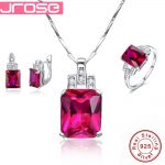 Jrose Famous Brand Women Accesssories Red Wedding <b>Ring</b> Earings Pendant Necklace 925 <b>Sterling</b> <b>Silver</b> Jewelry Sets Fine Jewelry