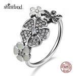 Shineland 2017 New Fashion Poetic Daisy Cherry <b>Ring</b> <b>Silver</b> Enamel Flower Finger <b>Ring</b> for Women 925 <b>Sterling</b> <b>Silver</b> Fine Jewelry