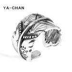 YA-CHAN New Bohemian 925 <b>Sterling</b> <b>Silver</b> Leaves Open <b>Rings</b> Adjustable Carving Pattern Finger <b>Rings</b> For Women Man Fine Jewelry